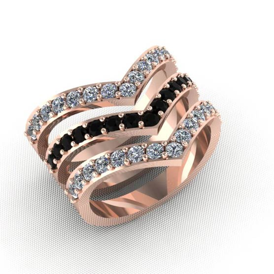Rose Gold and Diamond Ring Rendering
